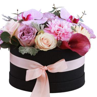 Florarie online - livrare flori - cutie flori - aranjament floral - idee cadou