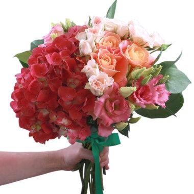 Buchet flori - florarie online - livrare flori - trandafiri - hortensie - trandafiri crem