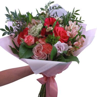 Buchet flori - florarie online - livrare flori - buchet mixt - trandafiri roz