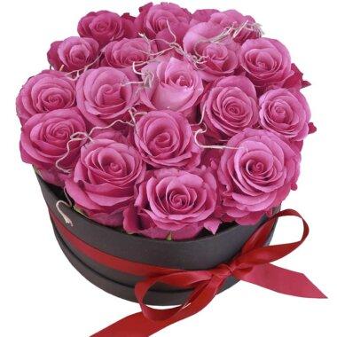 Cadou special - livrare flori - cutie flori - trandafiri roz pal