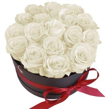 Cadou special - livrare flori - cutie flori - trandafiri albi