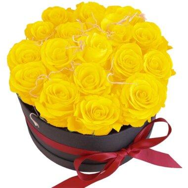 Cadou special - livrare flori - cutie flori - trandafiri galbeni