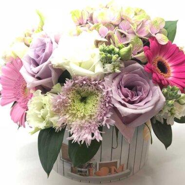 Buchet de flori - cutie flori - trandafiri - crizantema