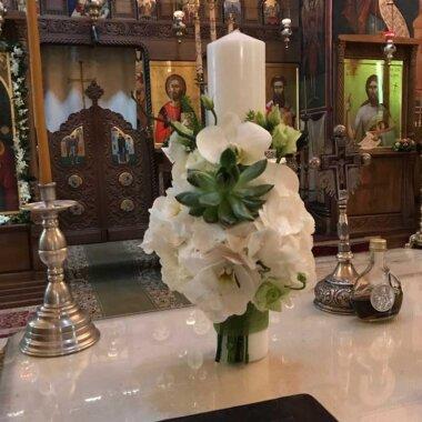 Buchet de flori - florarie online - livrare Bucuresti - lumanare botez