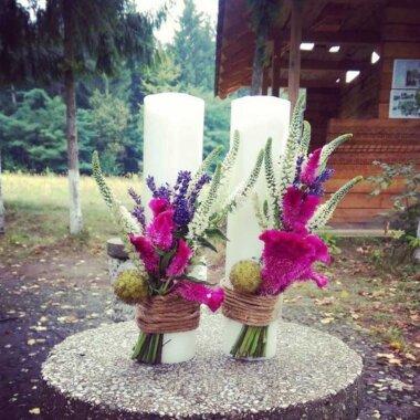Florarie online - lumanare nunta - lavanda - flori Bucuresti