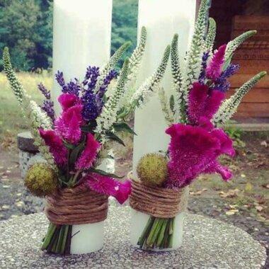 Florarie online, lumanare nunta, lavanda, flori naturale
