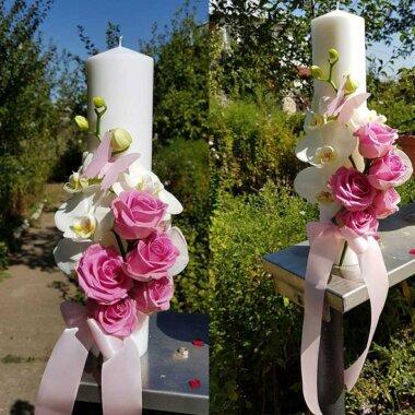 Buchet flori - florarie online - livrare flori - lumanare nunta - orhidee