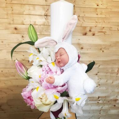 Florarie online - lumanare botez - papusa Anne Geddes