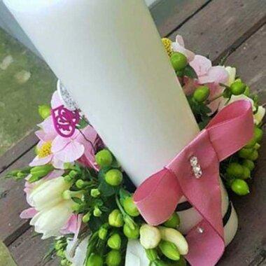 Lumanare botez, florarie online, aranjament unic
