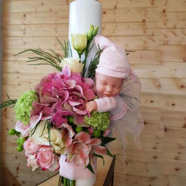 Buchet de flori - lumanare botez - florarie online - eveniment