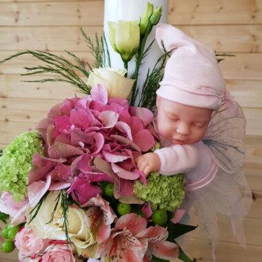 Buchet de flori, lumanare botez, florarie online, eveniment