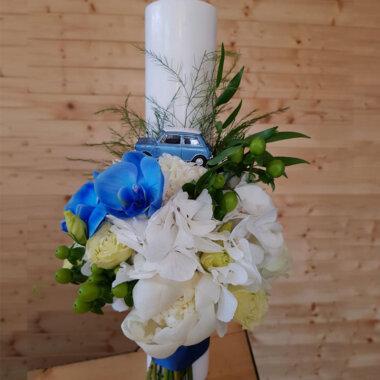 Florarie online Bucuresti - livrare flori - lumanare botez personalizata