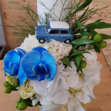 Florarie online, livrare flori, lumanare botez personalizata