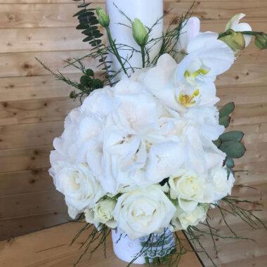 Buchet mireasa, lumanare nunta, flori naturale, livrare flori