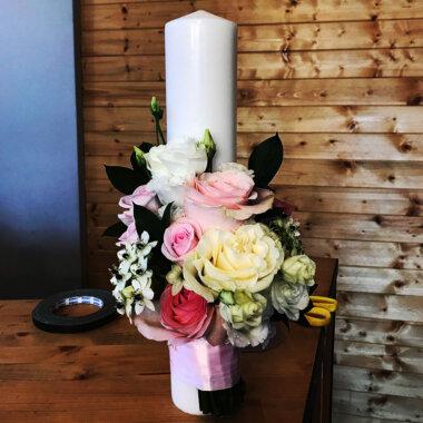 Lumanare botez - trandafiri - livrare flori - florarie Bucuresti