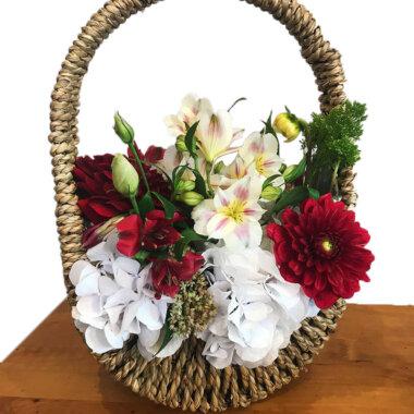 Aranjament floral cos - livrare flori Bucuresti - rustic