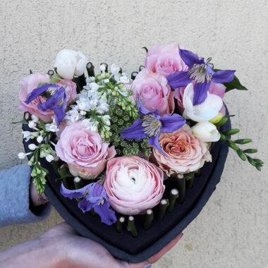 Aranjament Trandafiri Frezie Liliac