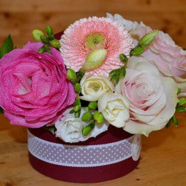 Frezie - Trandafir - Cutie flori