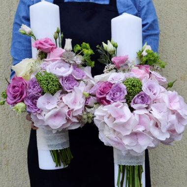 Lumanare nunta trandafiri roz