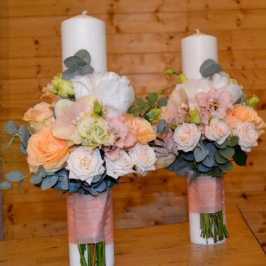 Lumanare nunta bujori albi - Bucuresti