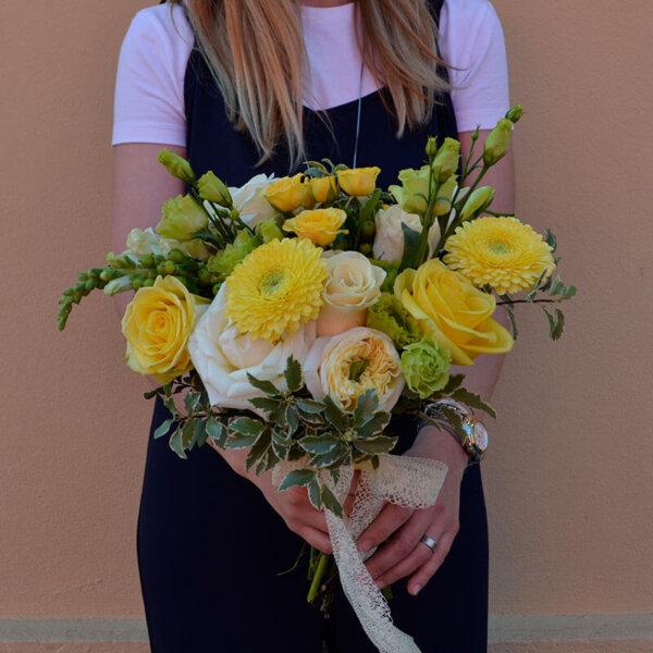 Buchet trandafir gradina - gerbera- livrare Bucuresti