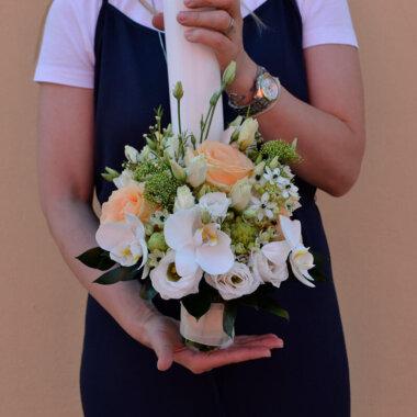 Lumanare nunta trandafiri - wax flower - ami